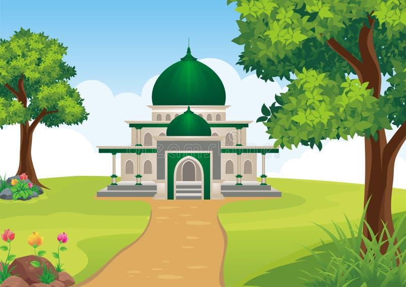 Мечеть шаржа исламская с ландшафтом иллюстрация штока