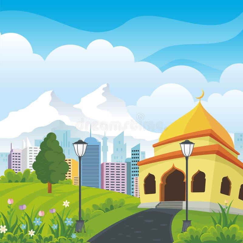 Мечеть шаржа с природой и ландшафтом города иллюстрация штока
