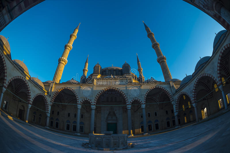 Мечеть Fisheye Selimiye стоковая фотография