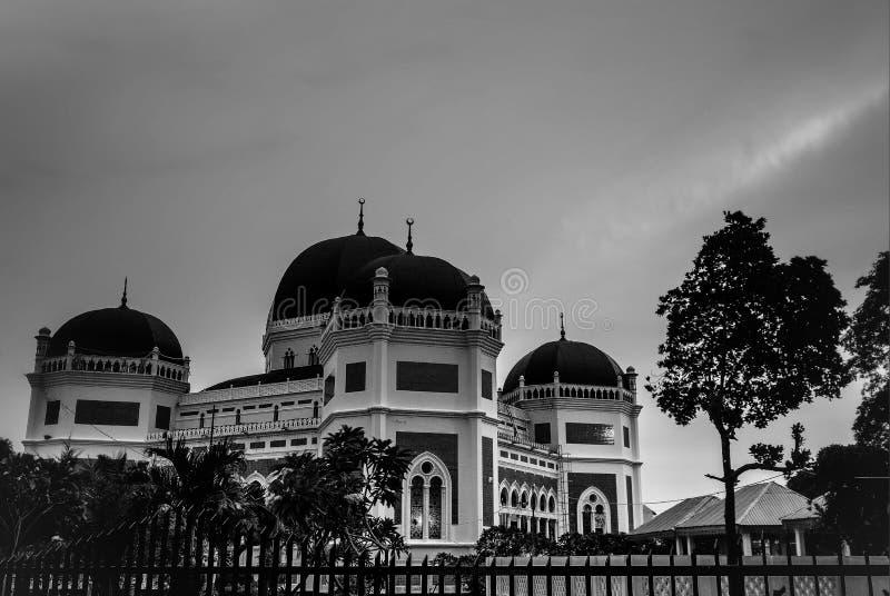 Мечеть Medan Индонезия Blackwhite стоковые изображения