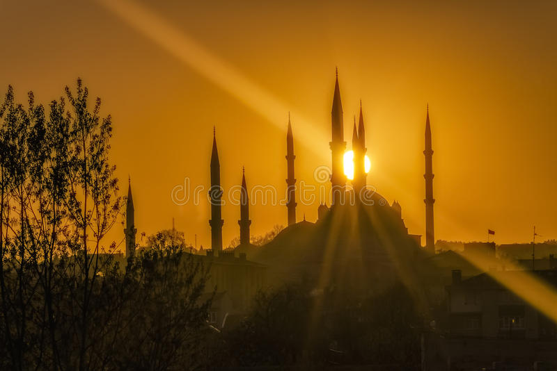 Мечеть Selimiye в восходе солнца HDR стоковые изображения