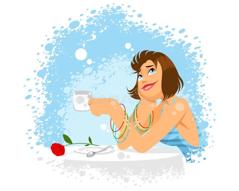 Мечтательная девушка в кафе Иллюстрация вектора - иллюстрации насчитывающей  : 123628578