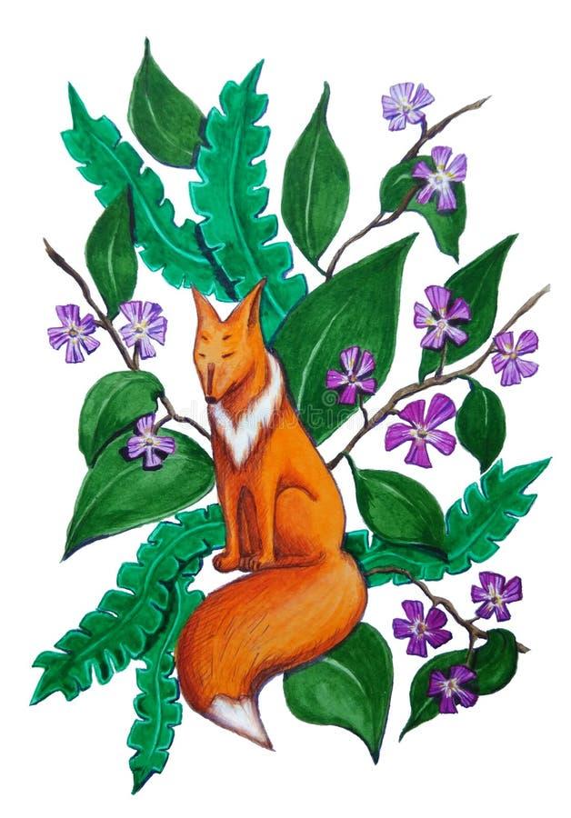 Мечтательная лиса на предпосылке листьев и цветков иллюстрация вектора