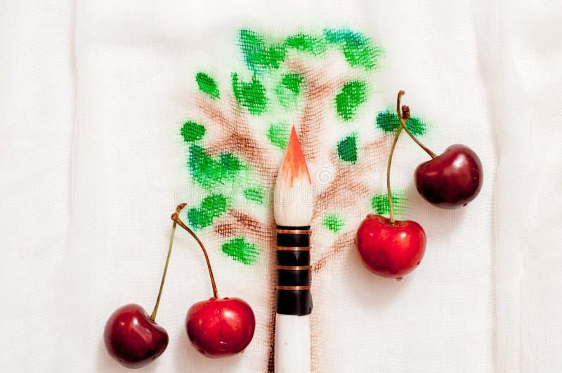 Мечтательное и абстрактное изображение вишневого дерева влияние двойной экспозиции с текстурой хода щетки акварели стоковое фото