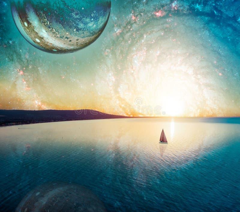 Мечтательный ландшафт фантазии уединенного плавания парусника на заходе солнца около береговой линии r иллюстрация вектора