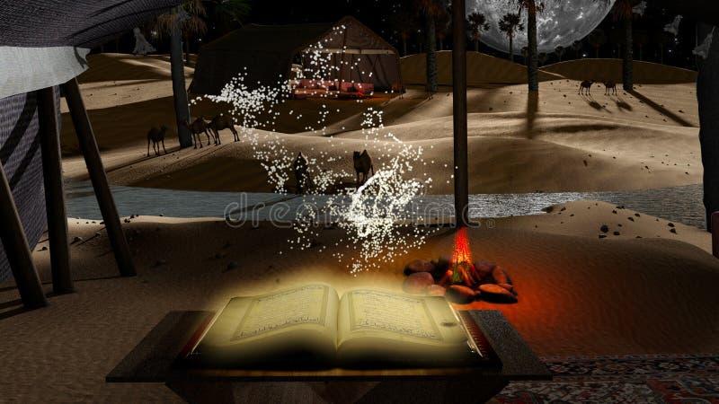 Мечтательная пустыня ночи с holdy частицами Корана иллюстрация штока