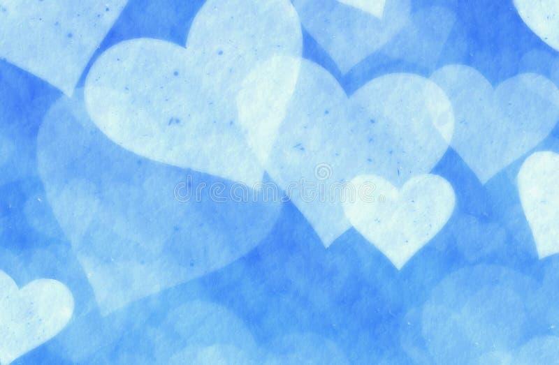 Мечтательные сердца светлого снега на голубой предпосылке иллюстрация штока