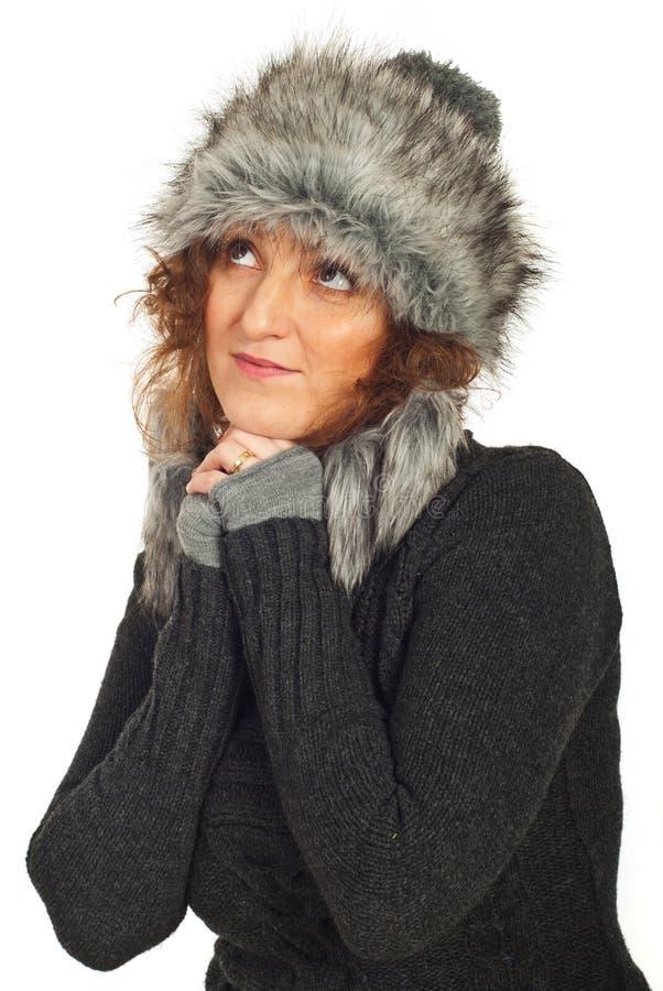 мечтать женщина зимы стоковые изображения rf