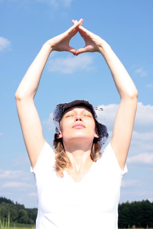 мечтать женщина солнца стоковые фото