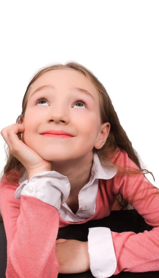 мечтая изолированная девушка немногой стоковое фото rf