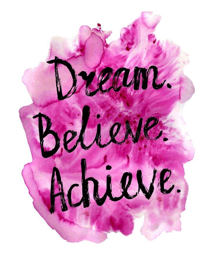 Мечта верит достигает мотивационной литерности бесплатная иллюстрация