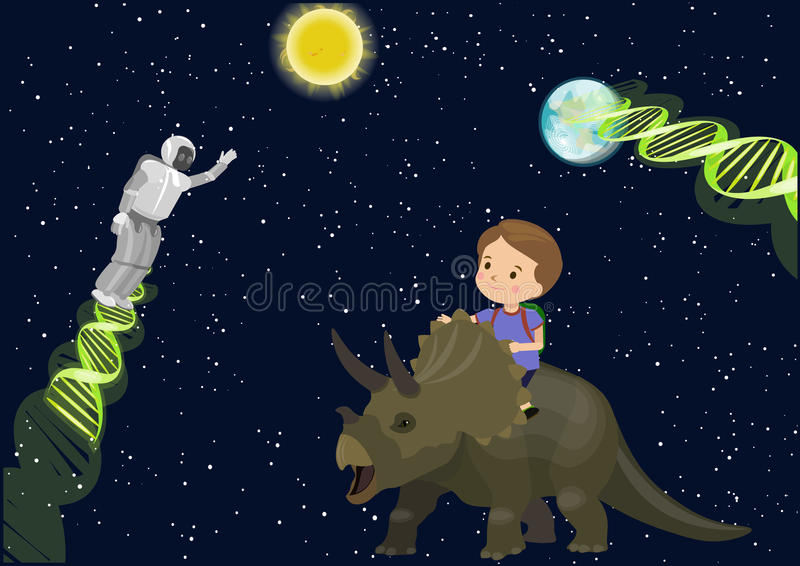 Мечта динозавра трицератопс езды школы ребенка мальчика в дна робота чужеземца встречи космоса Играет главные роли темная земля С иллюстрация штока