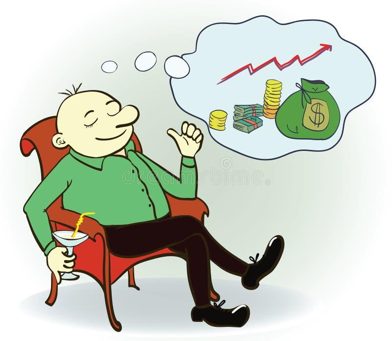 Мечта человека о деньгах Концепция вектор бесплатная иллюстрация