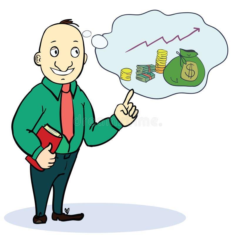 Мечта человека о деньгах Шарж концепции иллюстрация штока