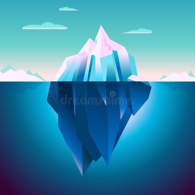 Мечта Lowpoly спокойствия айсберга Quarz иллюстрация штока