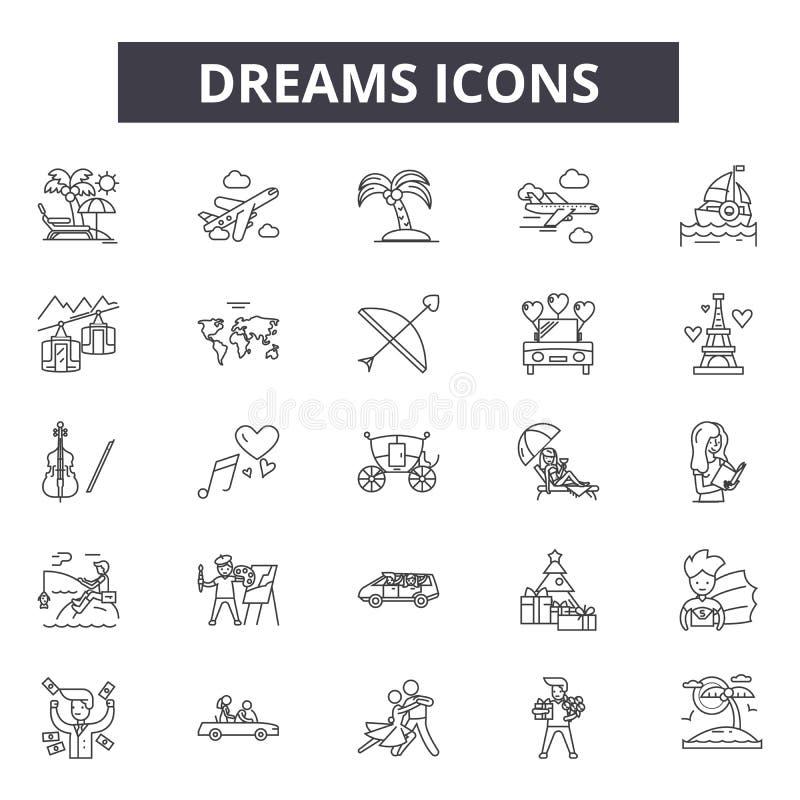 Мечты выравнивают значки, знаки, набор вектора, концепцию иллюстрации  иллюстрация вектора