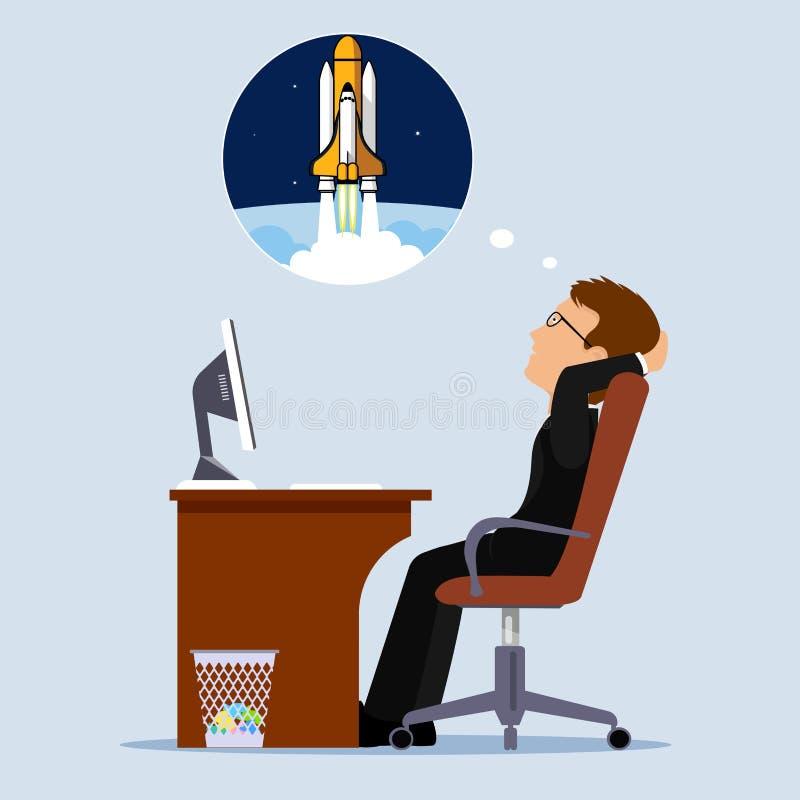 Мечты человека об иллюстрации вектора космоса плоского стиля иллюстрация штока