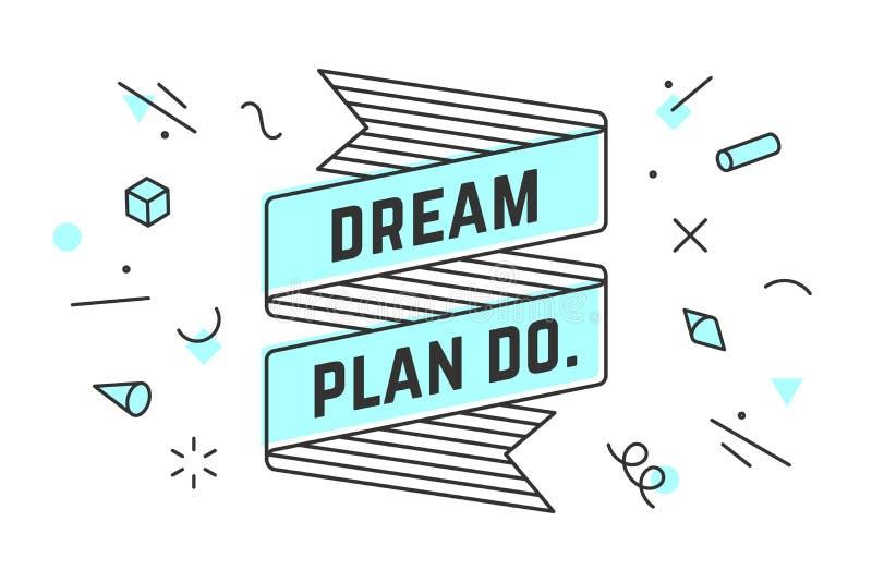 Мечт план делает Винтажное знамя ленты бесплатная иллюстрация