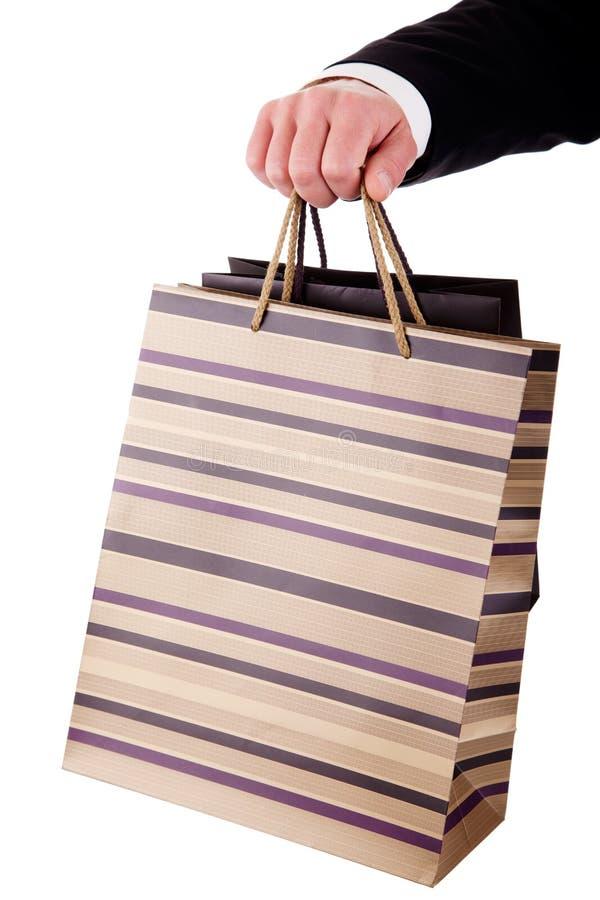 мешки детализируют делать покупку человека руки стоковые изображения