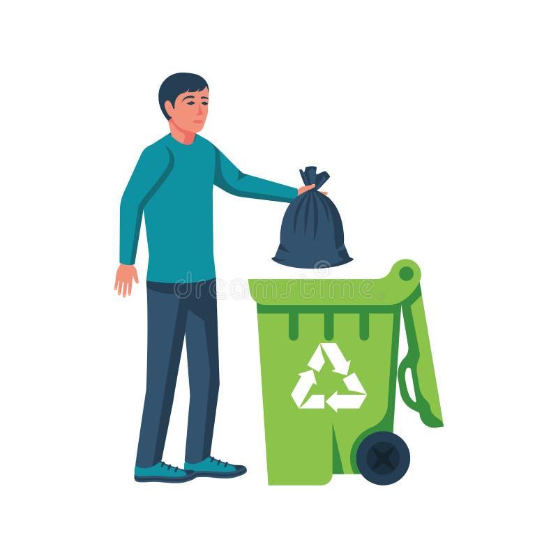Мешки для мусора человека бросая в контейнере бесплатная иллюстрация
