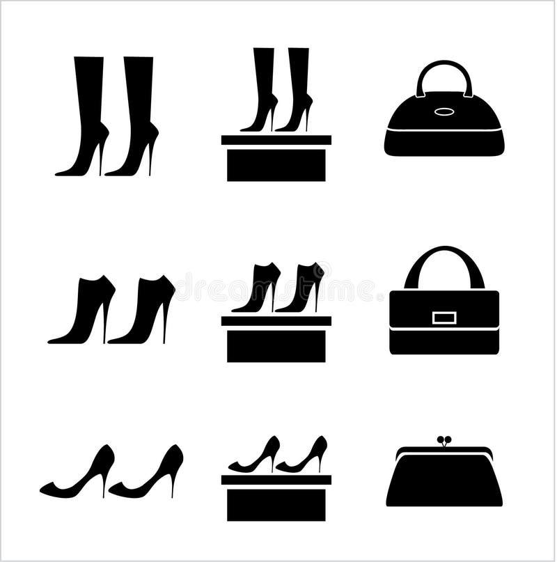 Мешки и ботинки черных икон женские иллюстрация вектора