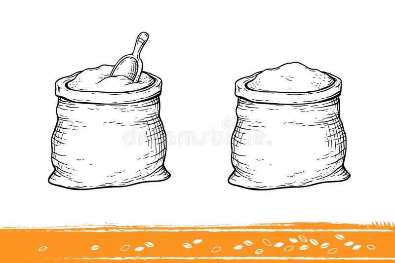 Мешки с мукой и пшеницей иллюстрация вектора