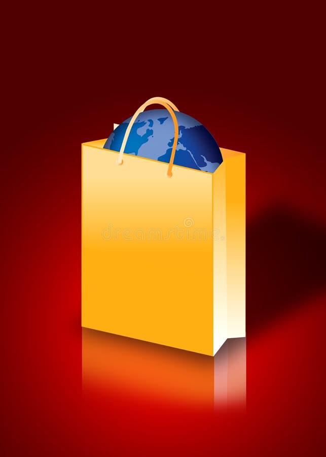 мешок внутри мира покупкы иллюстрация штока