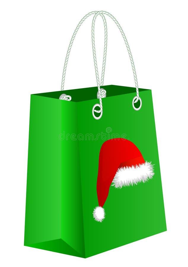 Мешок рождества с шлемом Santa Claus иллюстрация штока