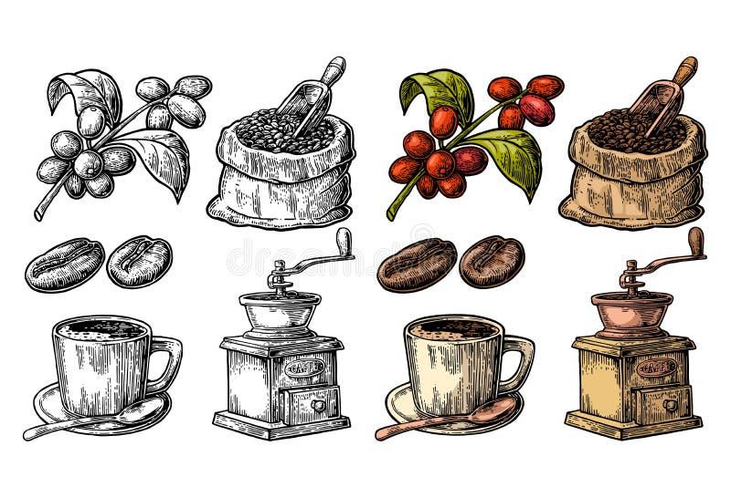 Мешок с кофейными зернами с деревянным ветроуловителем и фасолями, чашкой, ветвью с лист и ягодой бесплатная иллюстрация