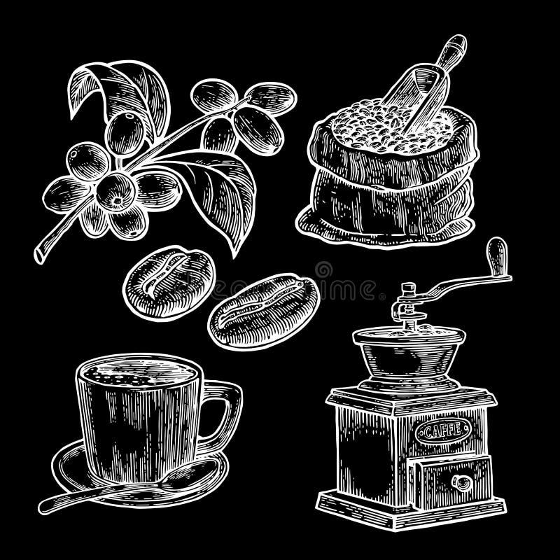 Мешок с кофейными зернами с деревянными ветроуловителем и фасолями иллюстрация вектора