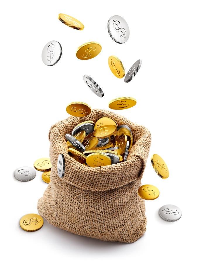 Мешочек из ткани вполне с золотом и серебряными монетами бесплатная иллюстрация