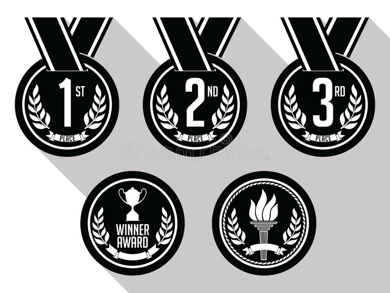 Медали с лентой плоско бронзовыми серебр установленный золотыми медалями черная белизна иллюстрация штока