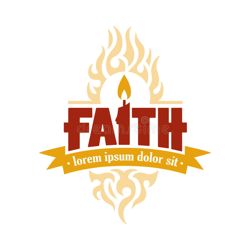 Медальон логотипа вектора свечи веры иллюстрация вектора