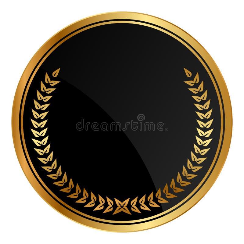 Медаль с лаврами золота иллюстрация штока
