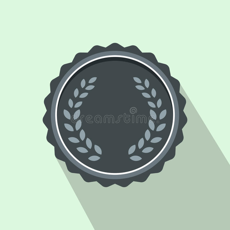 Медаль с значком лаврового венка, плоским стилем иллюстрация штока