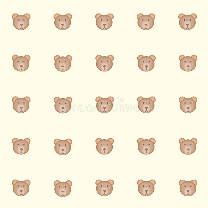 Медведи Cutie с желтой предпосылкой иллюстрация вектора