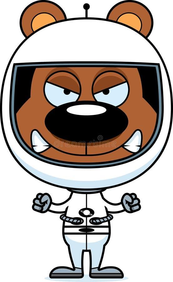 Медведь астронавта шаржа сердитый иллюстрация вектора