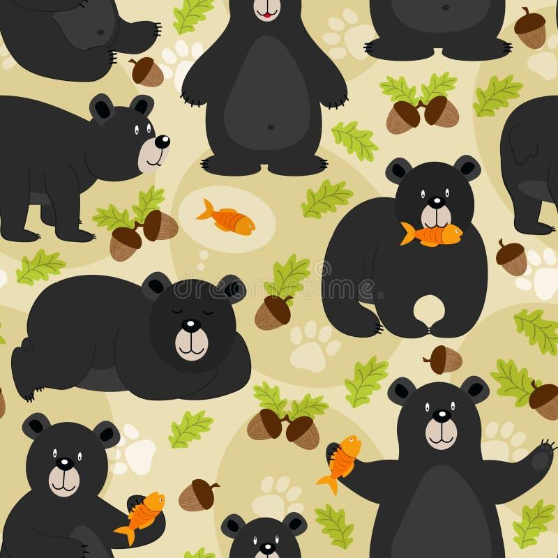Медведь безшовной картины черный бесплатная иллюстрация