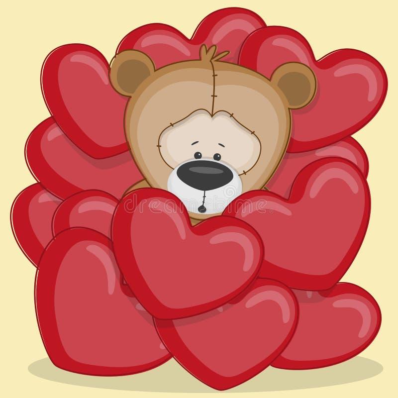 Медведь в сердцах иллюстрация вектора