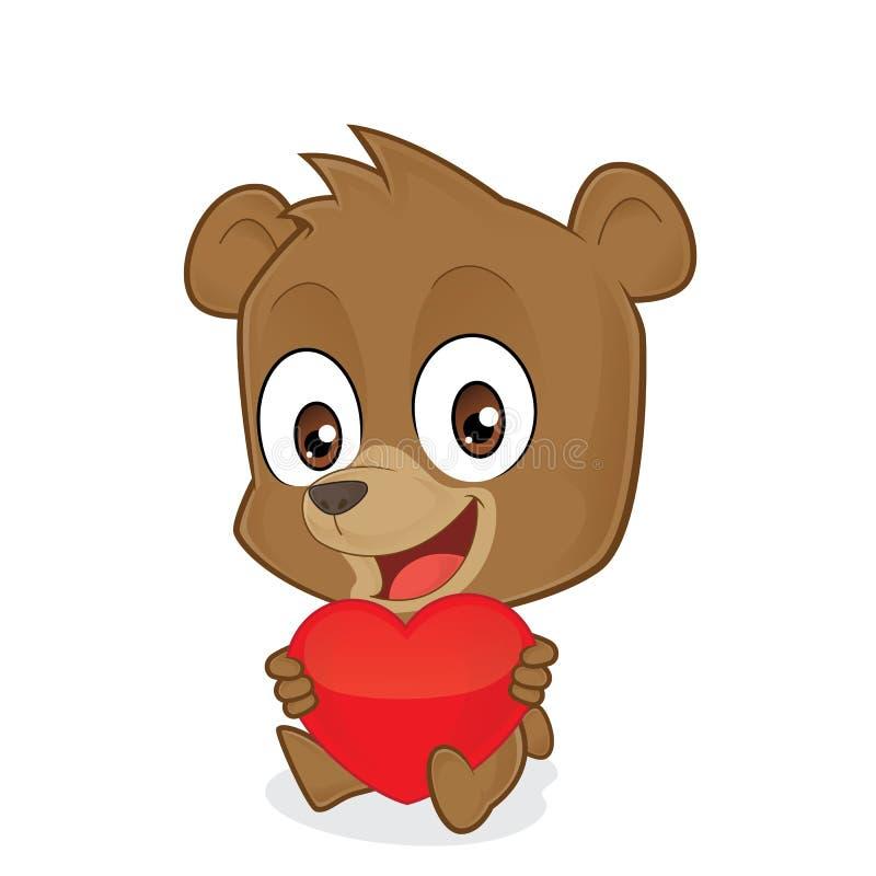 Медведь держа красное сердце влюбленности иллюстрация вектора