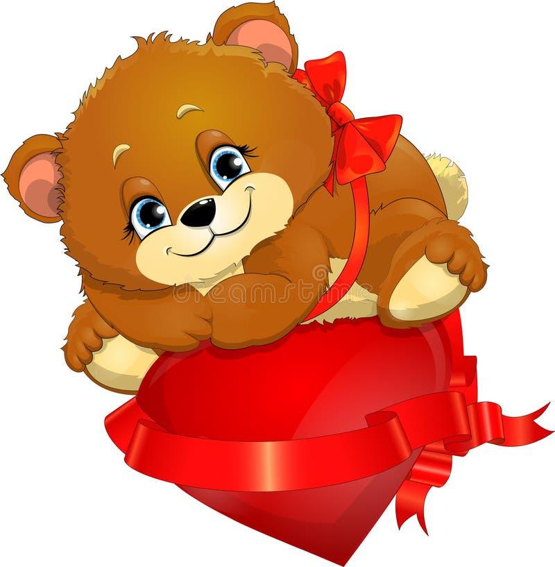 Медведь и сердце иллюстрация вектора