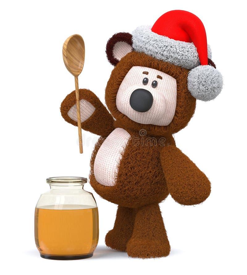медведь иллюстрации 3d с опарником меда стоковые фото