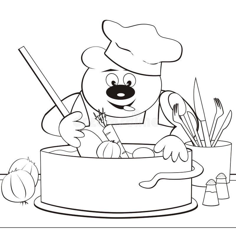 Медведь - кашевар, книжка-раскраска бесплатная иллюстрация