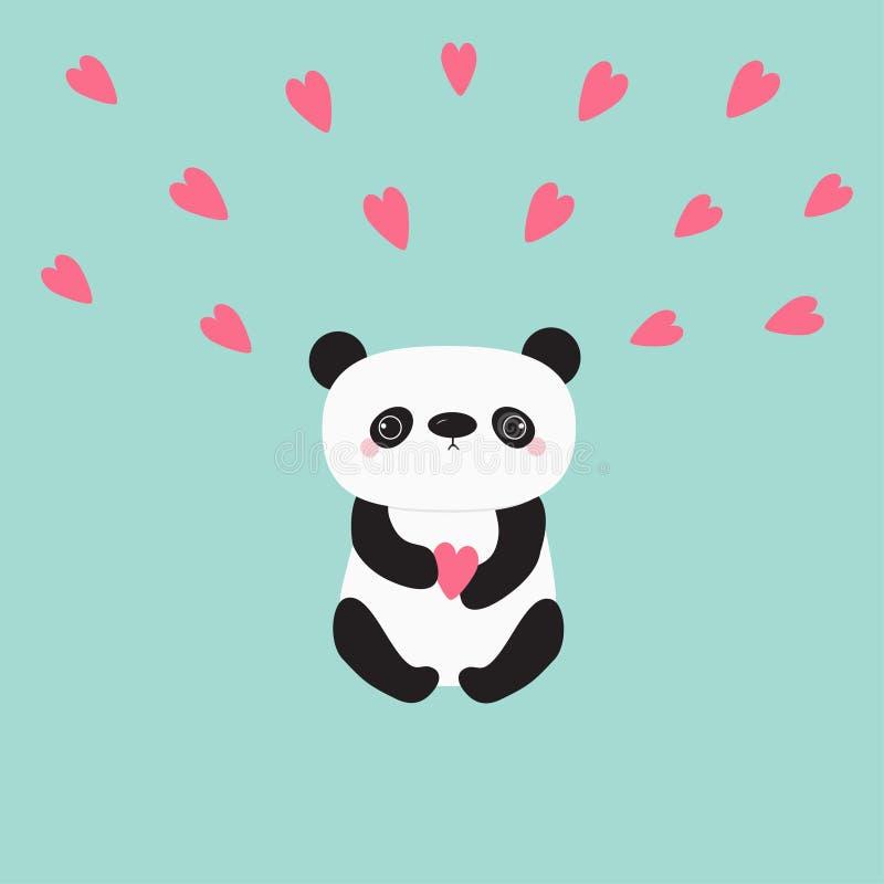 Медведь младенца панды Kawaii Милый персонаж из мультфильма держа розовые маленькие сердца иллюстрация штока