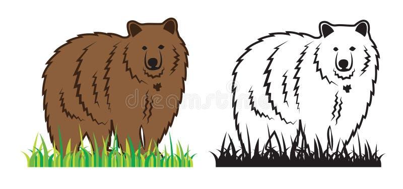 Медведь на траве иллюстрация вектора