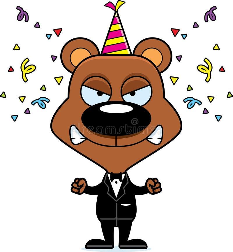 Медведь партии шаржа сердитый иллюстрация вектора