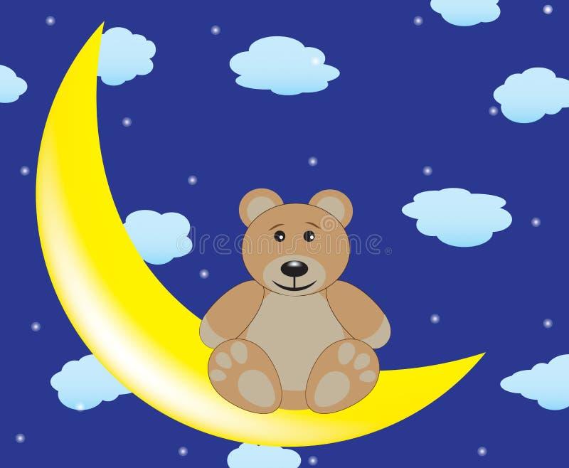 Медведь сидит на луне бесплатная иллюстрация