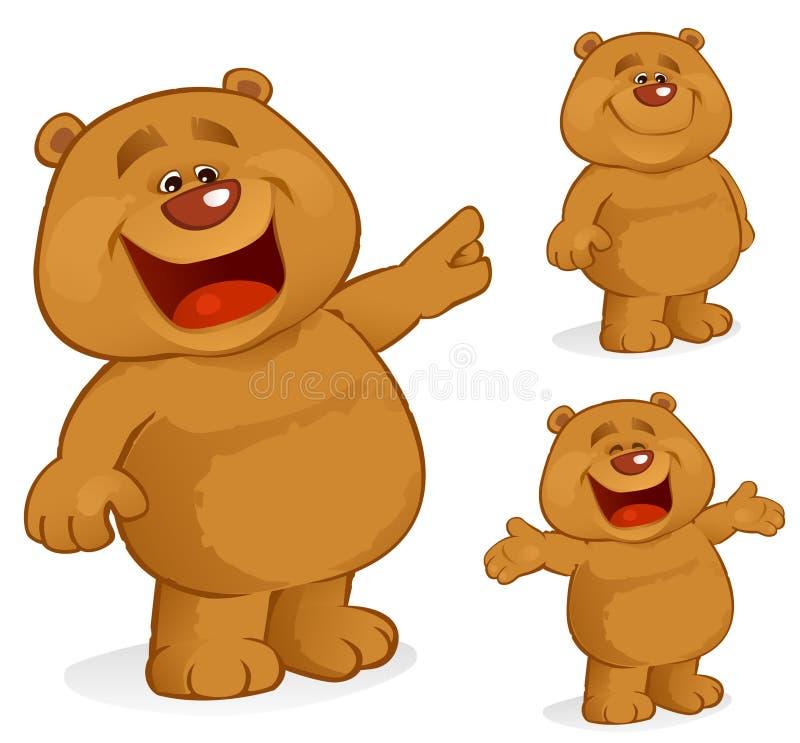 медведь счастливый иллюстрация вектора