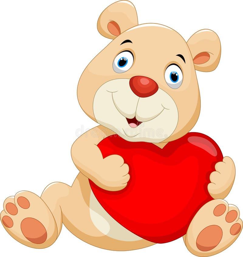 Медведь с большим красным сердцем бесплатная иллюстрация