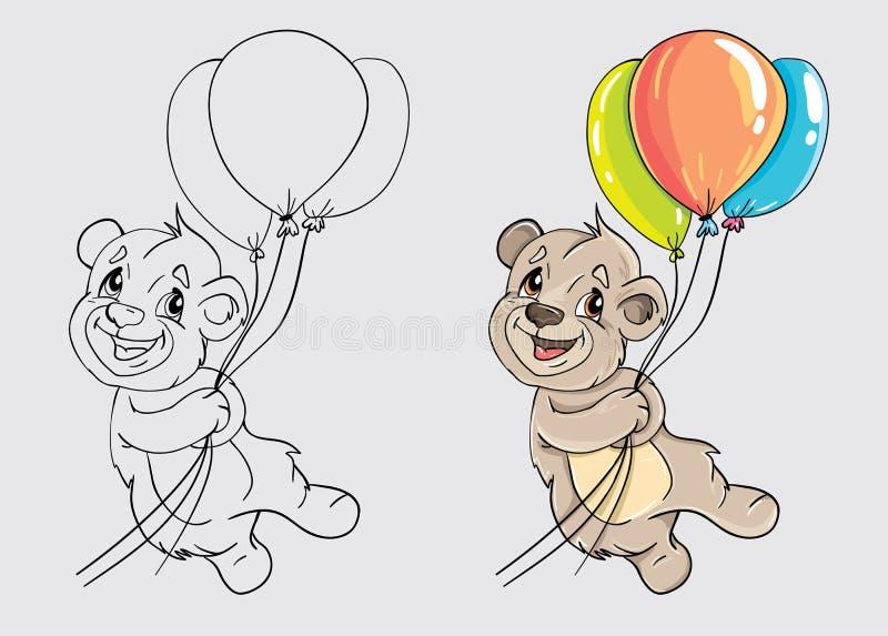 Медведь с воздушными шарами для красить книгу бесплатная иллюстрация